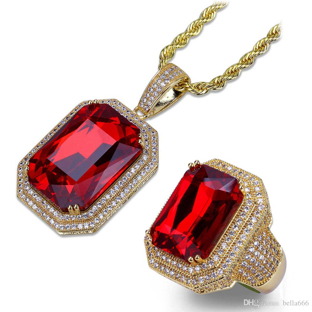 Men's Hip Hop Cubic Zirconia Ruby Rings Pendant Necklace Sets Copper Red Gem Stones Pendants Ring Jewelry Set Stainless Steel Rope Chain
