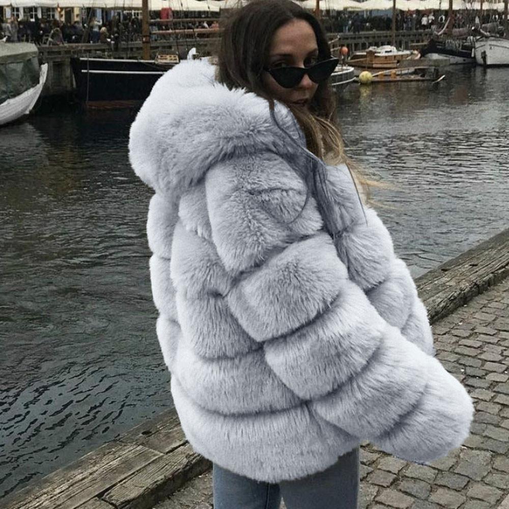 بالاضافة الى حجم النساء المنك معاطف الشتاء مقنع جديد فو الفراء سترة دافئة سميكة ملابس خارجية سترة النساء دافئة في فصل الشتاء معطف
