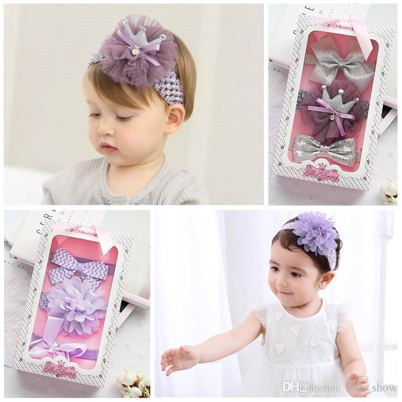 Kids Girl Baby Headband Toddler Lace Bow Flower Hair Band Accessories Headwear S
