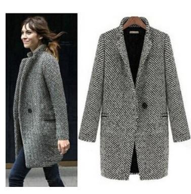 디자인 새로운 겨울 2017 회색 코트 먼지 코트 여성 매체 장기적인 대형 유럽 패션