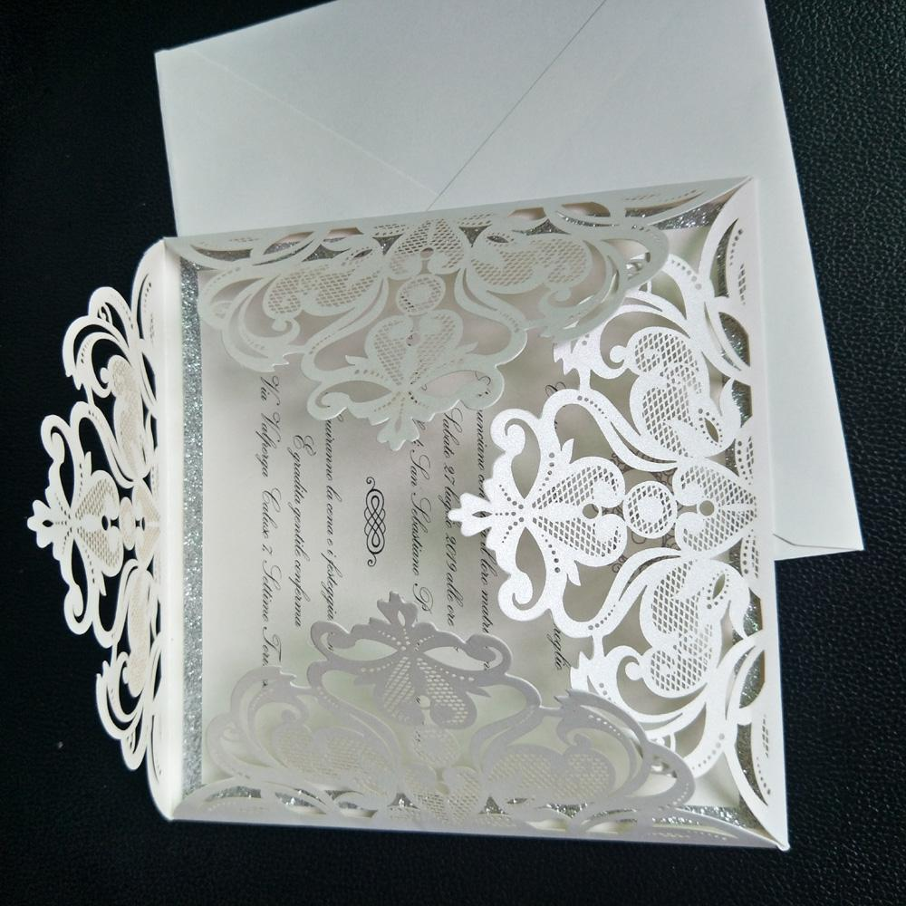 Silver Glitter Laser Cut Wedding Invitations Ivory Lace Evening Invitations with Envelope FREE PRINTING FREE SHIPPING
