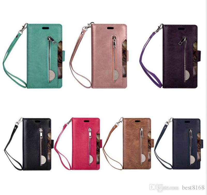 Luxury Leather Wallet Case For Huawei Mate 20 Lite Galaxy J4 J6 J8 A6 Plus Multifunction Zipper Flip Cover Photo ID 9 Card Slot Pouch Strap