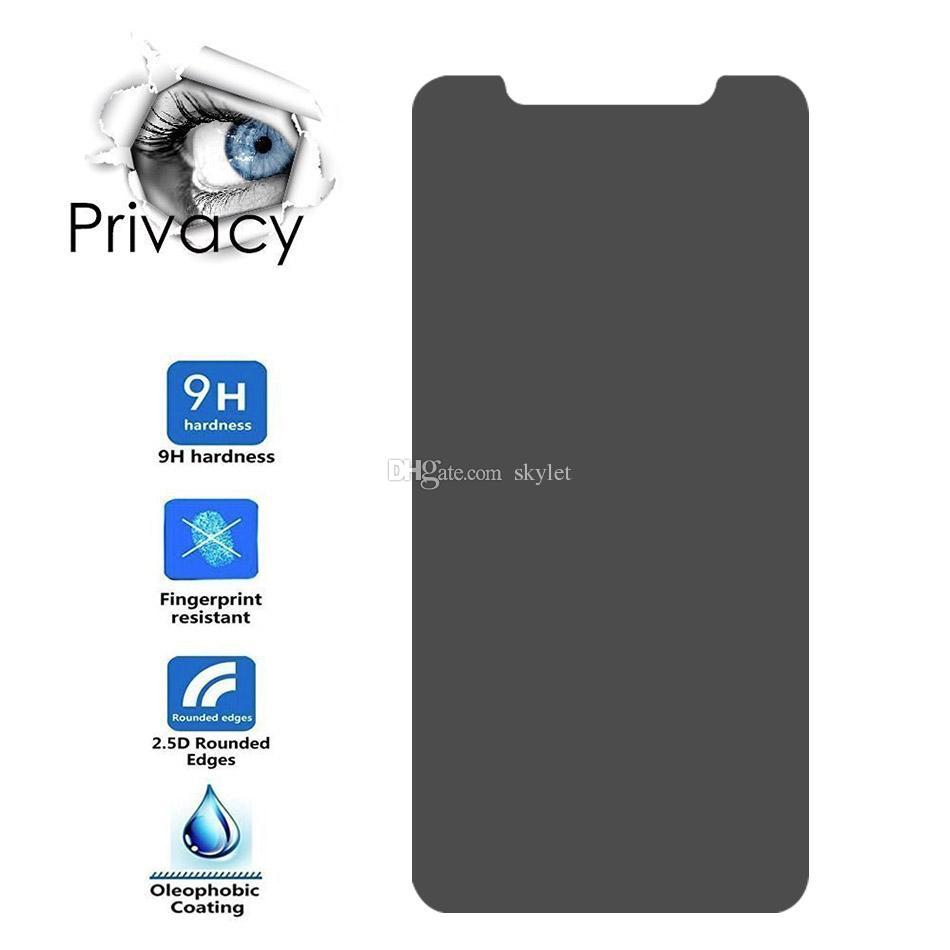 Anti Spy Privacy Glass für 2019 Neue iPhone XS MAX XR XS Displayschutzfolie für iPhone X 7 8 PLUS Hartglas ohne Verpackung
