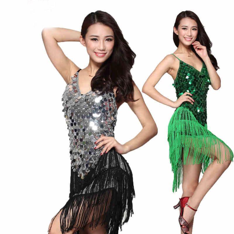 Yeni Lüks Sahne Dans Giyim Kadın Latin Elbise Kadınlar Latin Kostüm Elbiseler Saçak Giyim