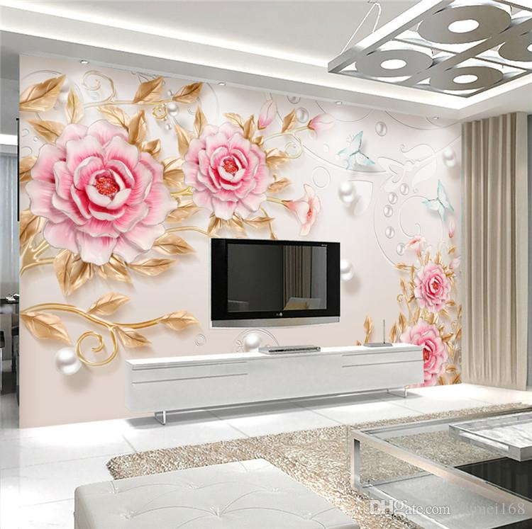 Custom 3d Photo Wallpaper 3d Stereoscopic Embossed Flower Wall Painting Modern Simple Living Room Tv Background Wall Decor Mural Retro Wallpaper Rose Wallpaper From Fumei168 16 73 Dhgate Com