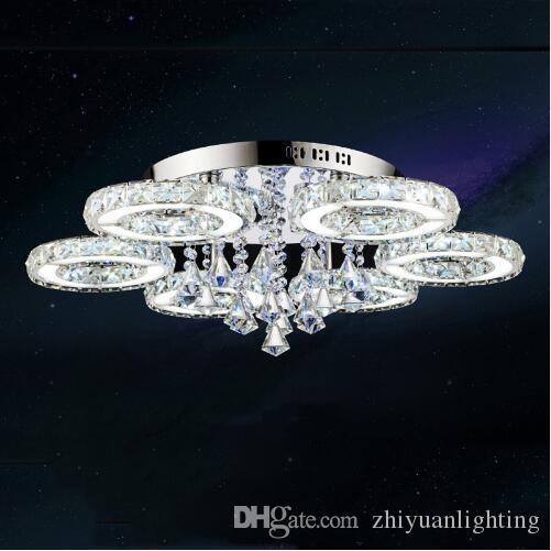 Modern Led Kristal Tavan Işık Kristal avizeler Fuaye Salon Yatak Odası 1/3/5/6/7/8 Halkalar Temizle / Amber Kristal