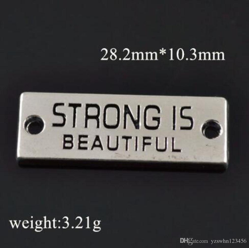 Silver Plated Strong Is Beautiful Pulsera de rectángulo Encantos de conector Inspirar palabras Fitness Charm