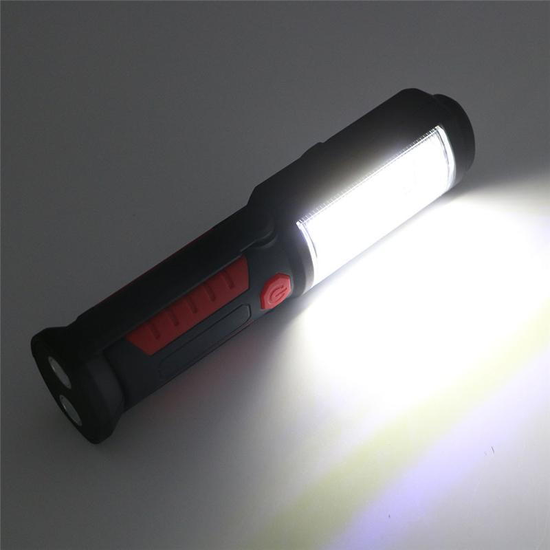 COB LED USB Rechargeable Flashlight Magnetic Working Folding Hook Camping Light Torch Lanterna Built In Battery With USB Cable