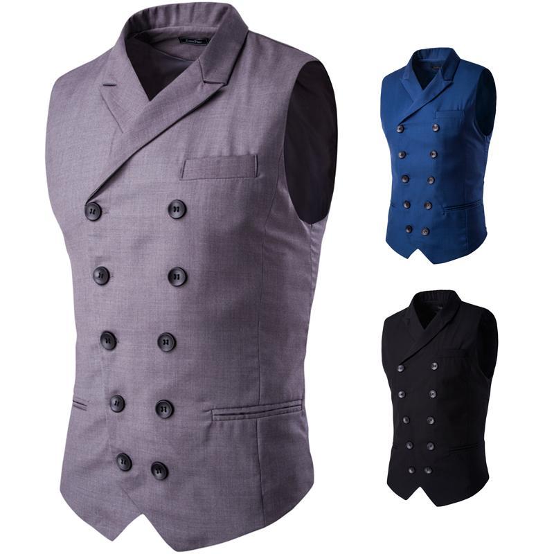 2018 moda yeni erkek iş rahat takım elbise yelek / erkek yaka tasarım çift göğüslü yelek
