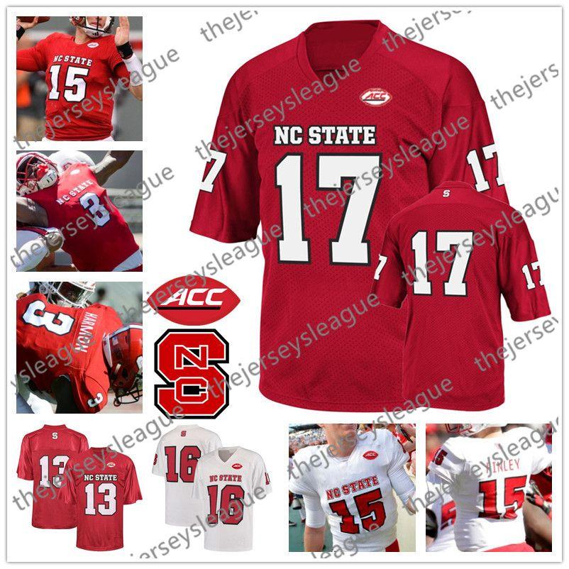 NC Devlet Wolfpack Özel Herhangi Adı Herhangi Bir Numara Beyaz Kırmızı Kişiselleştirilmiş Kaliteli Dikişli # 17 Philip Rivers NCAA Kolej Futbol Formalar
