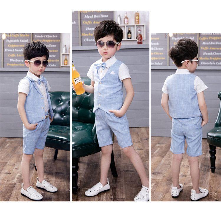 2018 Лето новая мода мальчики формальные костюмы 3 шт. короткий жилет + короткие брюки + рубашка дети дети свадебная одежда наборы