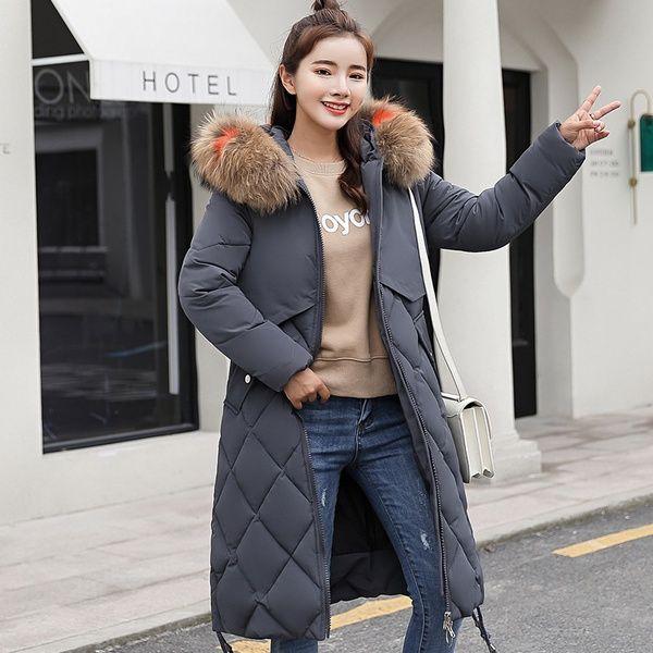 Großhandel Neue Mode 2018 Winterjacke Frauen Bunte Große Pelz Mit Kapuze Dicken Unten Parkas Lange Weibliche Jacke Mantel Schlank Warme Winter Outwear
