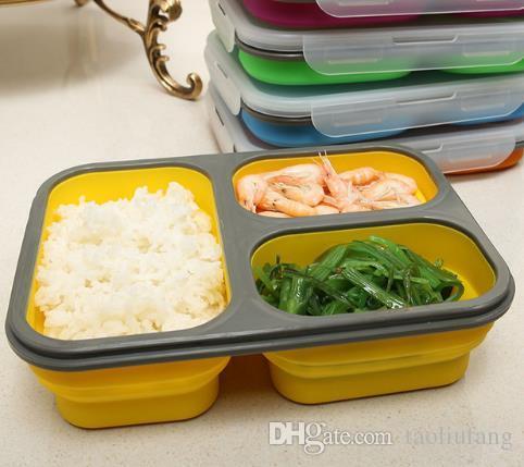 Boîte à lunch pliable en silicone Boîte à bento pliante portable avec cuillèreFork Four à micro-ondes Nourriture Conteneur de stockage de fruits livraison gratuite