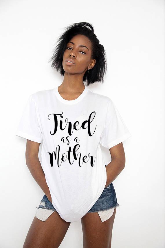 Kadın Tee Bir Anne Tumblr Olarak T gömlek Kadın Sevimli T Shirt Crewneck Grafik Tees Tops Unisex Pamuk Kıyafetler Hipster T-Shirt annemin Hediye