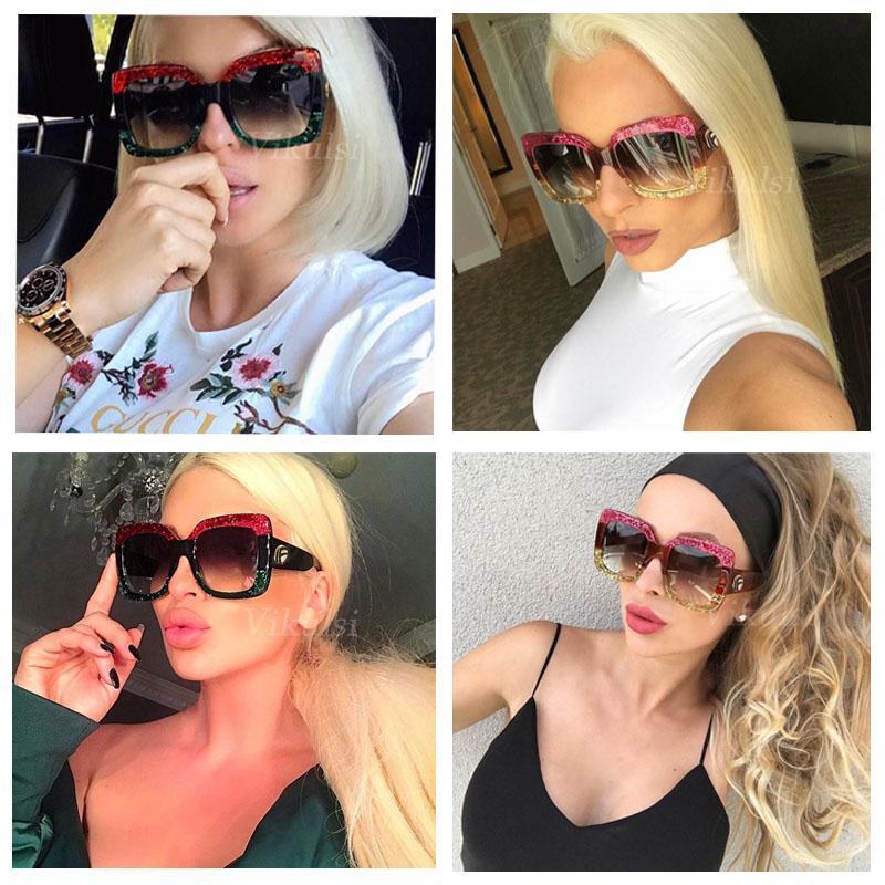 Italie Mode Vintage lunettes de soleil surdimensionnées femmes dégradé Lunettes de soleil Femme Rivet Big Cadre Lunettes UV400