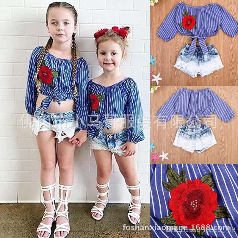 Baby Kid Girl Striped Floral Crop Top T-Shirt Blouse Denim Short Jeans Pants Outfits