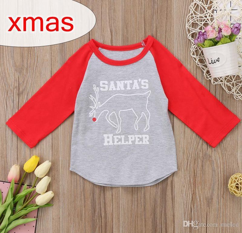 SANTAS HELPER LETTER print XMAS CHRISTMAS أطفال قطن ELK DEER ICING رانجلان تي شيرت BABY GREY RED LOLG SLEEVED GHIRT 2-6YEARS