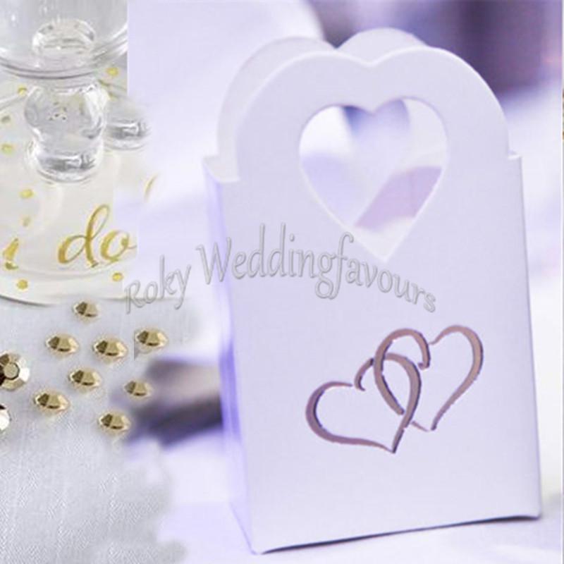 24pcs cuore maniglia bomboniere regali di nozze bianco / nero contenitore di caramelle favori titolare anniversario favori borse regalo festa evento