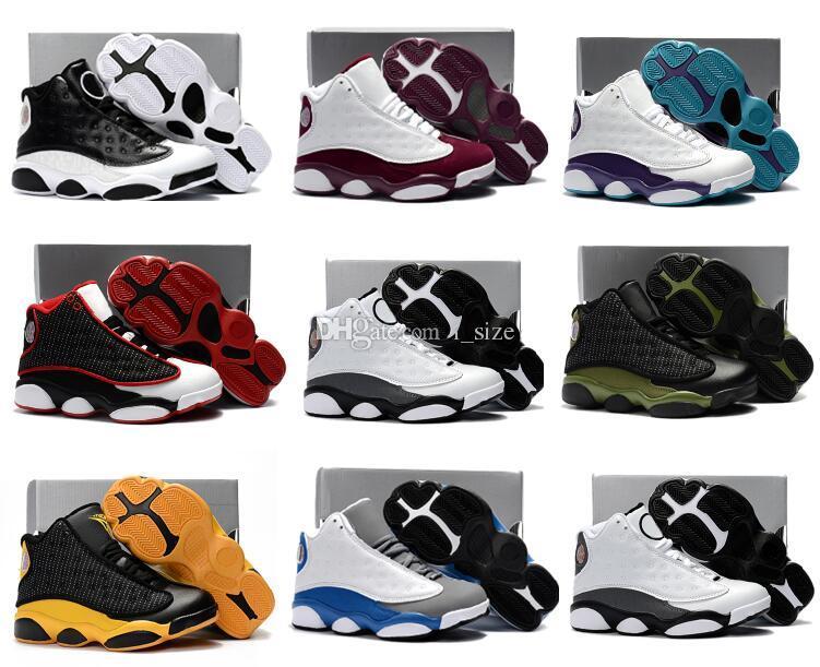 새로운 13 어린이 농구 신발 소년 소녀 어린이 Babys 이탈리아 블루 보르도 올리브 사랑 존경 13s 운동 화 실행 신발 Size28-35