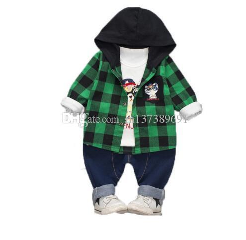Autumn Baby Girl Boy Clothes Sets Infant Cotton Cartoon Hoodie Cat lattice Coat T Shirt Pants 3/PCS Casual Kids Children Suits