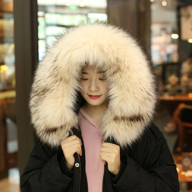 Autumn and winter women's Faux collar cap fox fur big collar raccoon fur collar muffler scarf cape 20 colors 70cm 80cm tb001 Y18102010