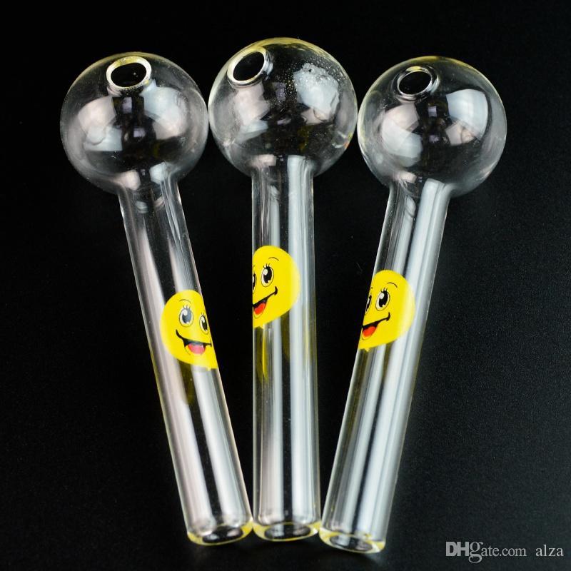 Sorriso Logo Rosto Pipes pirex de vidro Tubo queimador de óleo Colher de vidro engraçado Cachimbo mão de fumar cachimbos usados para fumar Acessórios frete grátis SW15