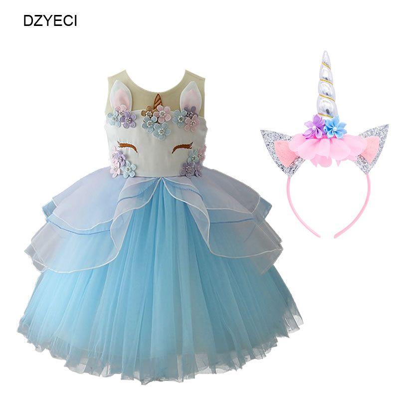 Compre Vestido Unicórnio Para O Bebê Festa De Aniversário Traje Moda Criança Dos Desenhos Animados Rendas Tutu Princesa Vestido Crianças Cerimônia De