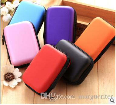 Earphone USB Cable Travel Storage Box Portable Rectangle Headphone Zipper Case EVA Earphones Organizer Pure Color