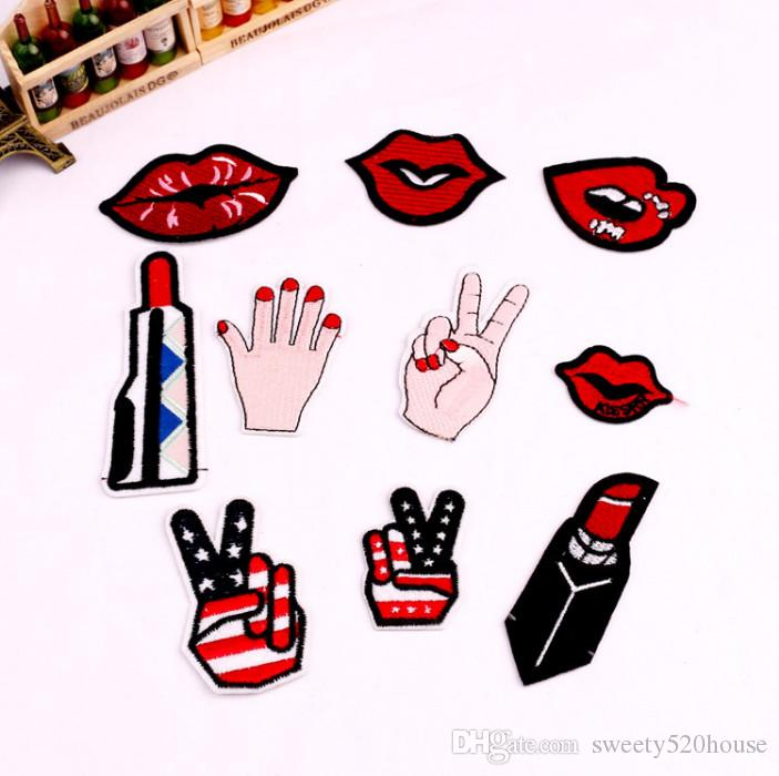 8pic/lot Lips Girl Gang Hand Iron On Patches Embroidery Patch Badge Applique Clothes Clothing Sewing Supplies Decorative Cartoon