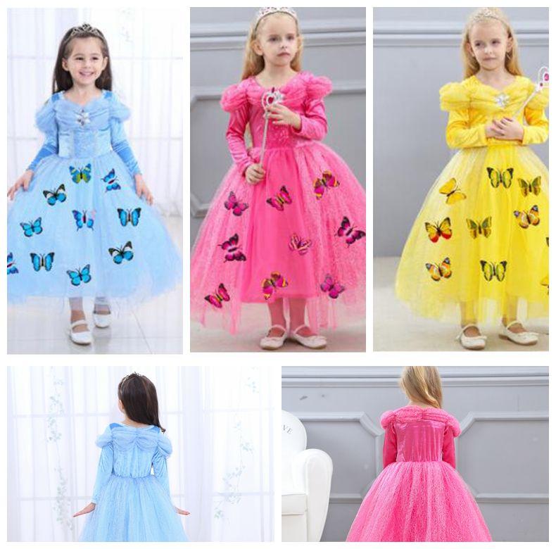 Bambini Carnevale Ragazze vestono abiti Cosplay Principessa Soffio manica lunga Farfalla Festa compleanno matrimonio Principessa abito KKA4038