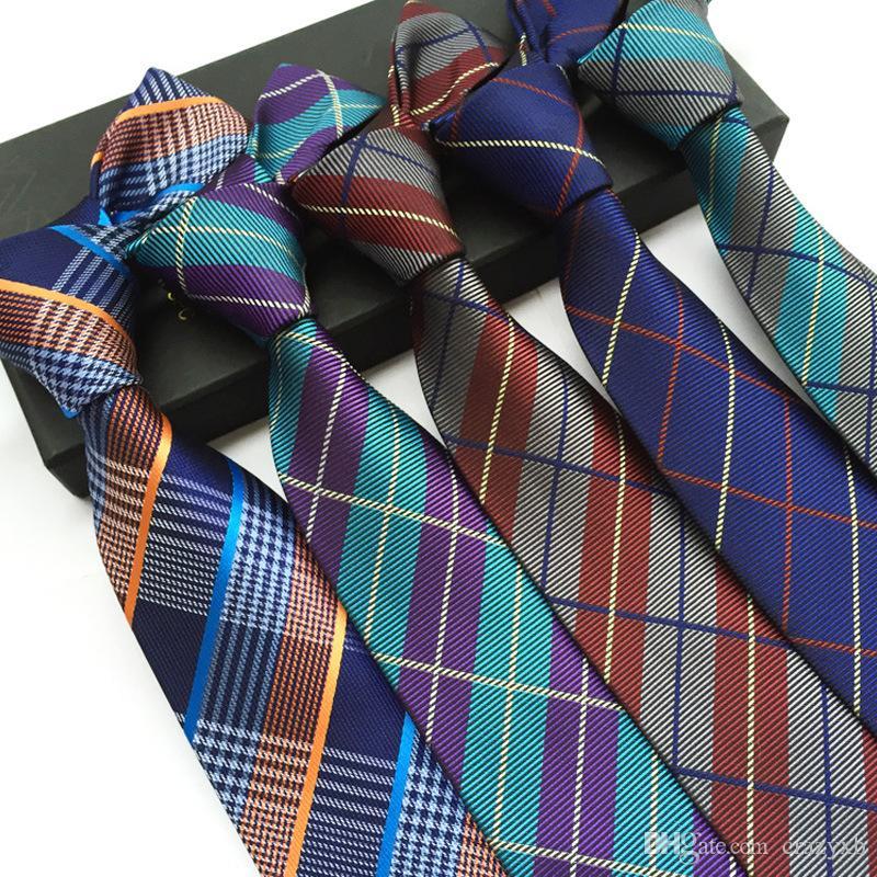 Высокое качество мужчин Последние высокой плотности Британская клетчатую рубашку галстук ткани галстук 8см тощий галстук 2020 Gravatá тонкий л