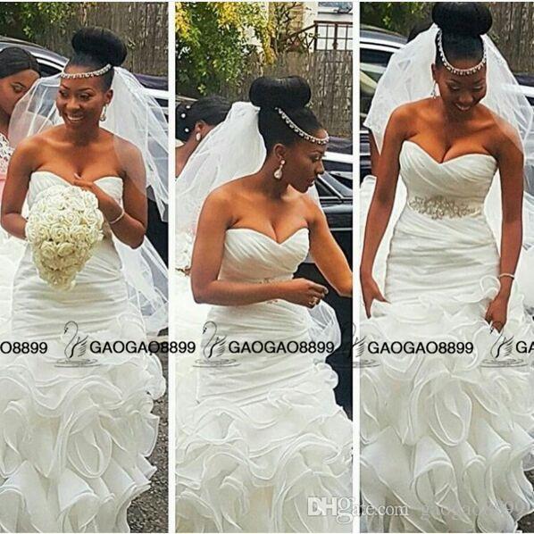Clean and Modern South African Mermaid Wedding Dresses Bridal Gowns Plus Size abiti da sposa with Beaded Belt Ruffles Train Backless Beach
