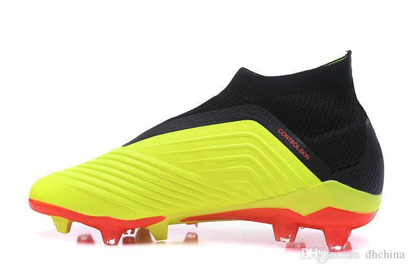 أحذية جديدة 2018 كأس العالم المفترس 18 + أحذية كرة القدم fg أسود أخضر اللون جودة عالية بالجملة الرياضة fg أحذية كرة القدم لنا حجم 6-11.5