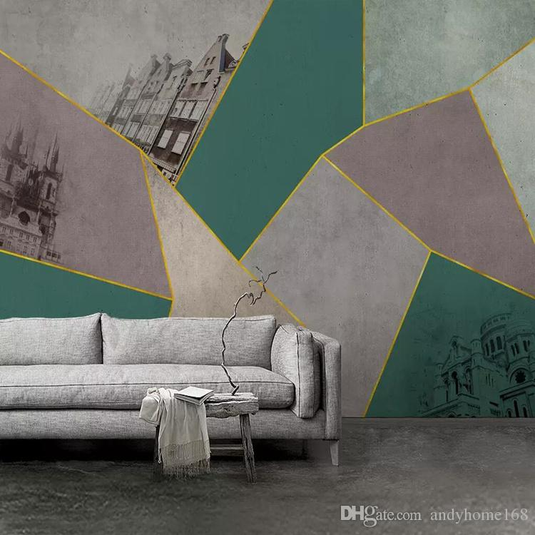 3d modern minimalist TV background wall Nordic personality retro geometric gold TV background wall wallpaper mural