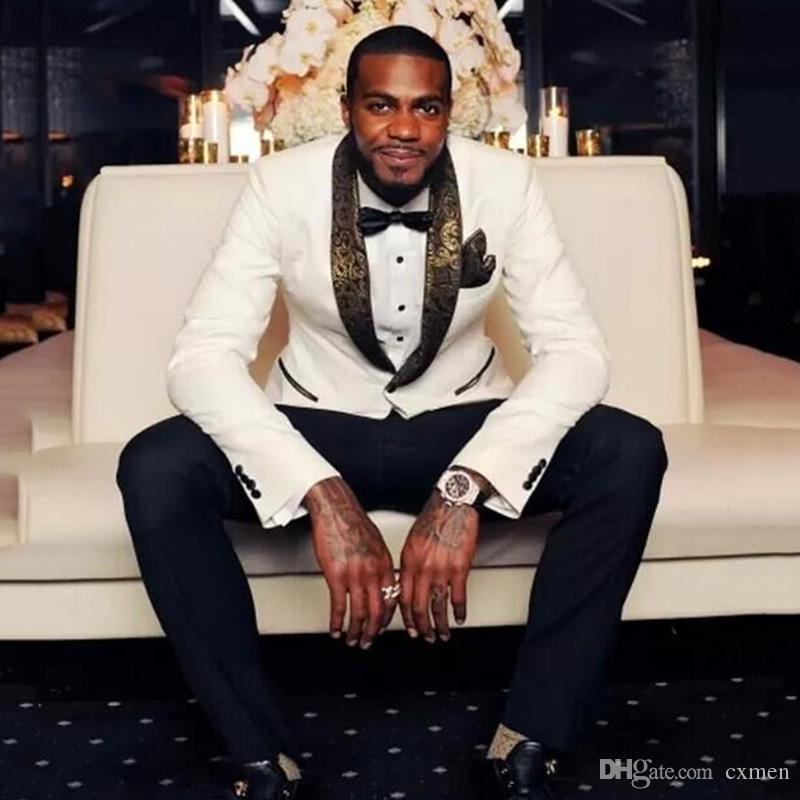 Gold Pattern Shawl Lapel Men Suits for Wedding 2 Pieces Slim Fit Groom Tuxedos Handsome Best Men Blazers White Jacket Black Pants