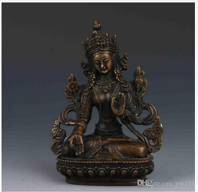 Großhandel - SAMMLER CHINESISCHE KUPFER HANDARBEIT LIFELIKE BUDDHA STATUES