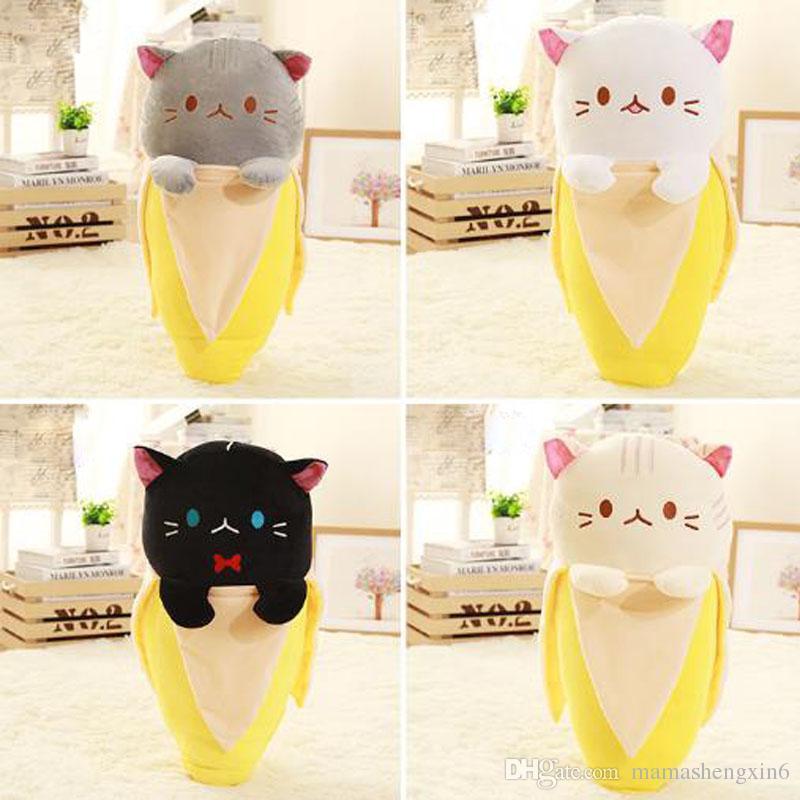 استرضاء الطفل المخفية القط الموز 4 اللون القطيفة الناعمة الإبداعية دمية محشوة لعبة للطفل أطفال عيد القط دمية وسادة الهدايا