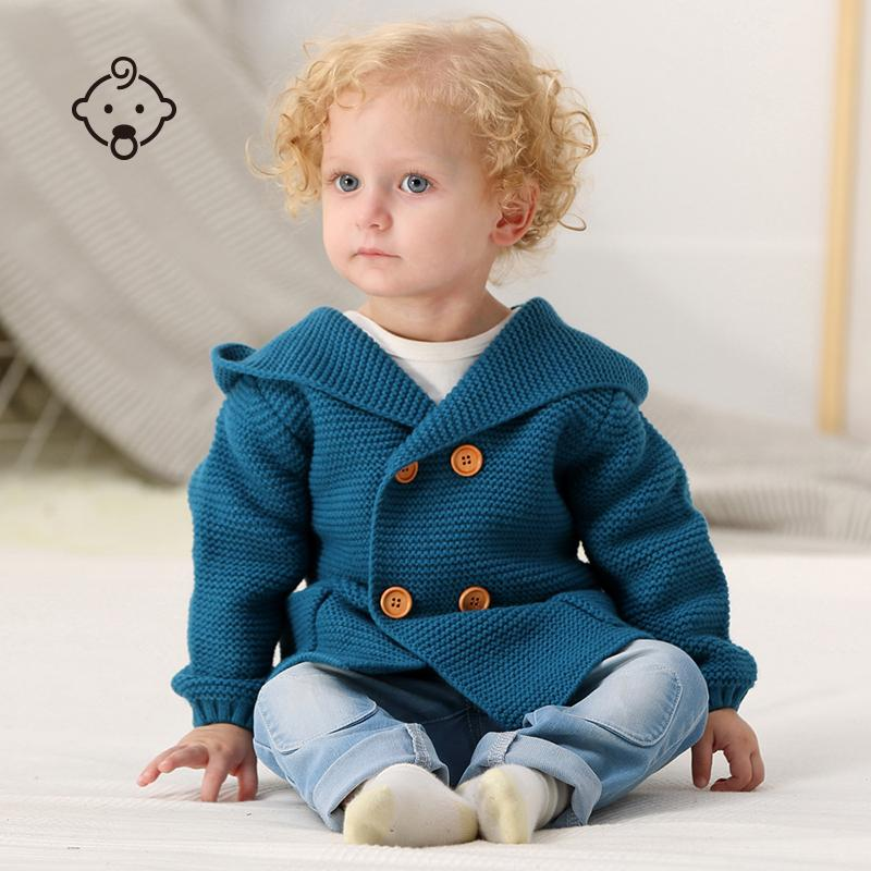 Newborn Baby Sweater Boys Knit Long Sleeve Toddler Infant Hooded Jackets Winter Coat 1-3 Years Baby Coat Warm Clothing