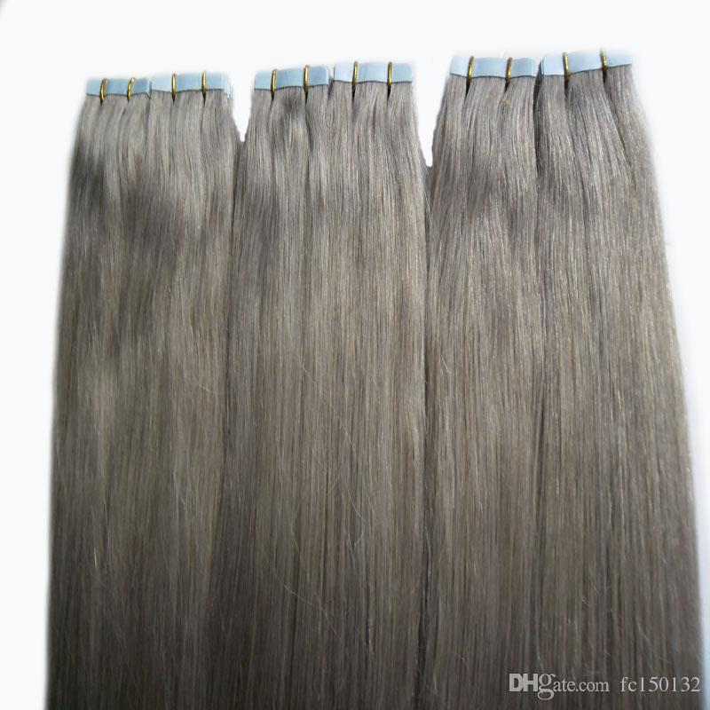 "Серые наращивания волос 12 ""14"" 16 ""18"" 20 ""22"" 24 ""26"" 28 ""Skin Weft Hair 300g 120pcs / Set лента в серебряных наращиваниях человеческих волос"