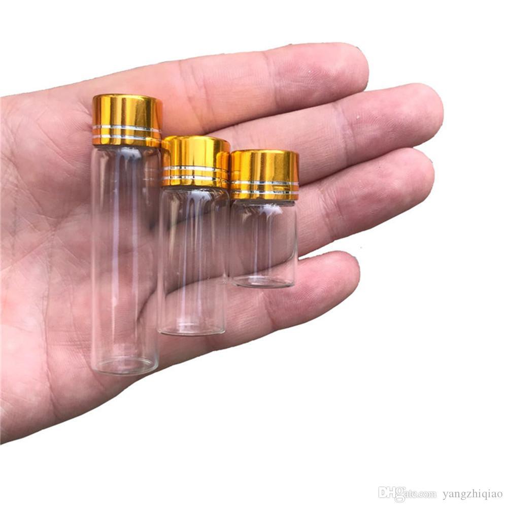 2 ml 4 ml 6 ml Mini Cam Şişeler El Sanatları Sevimli Şişeler Alüminyum Altın Kapak Boş Isteyen Hediye Şişeler Kavanozlar Süsle ...