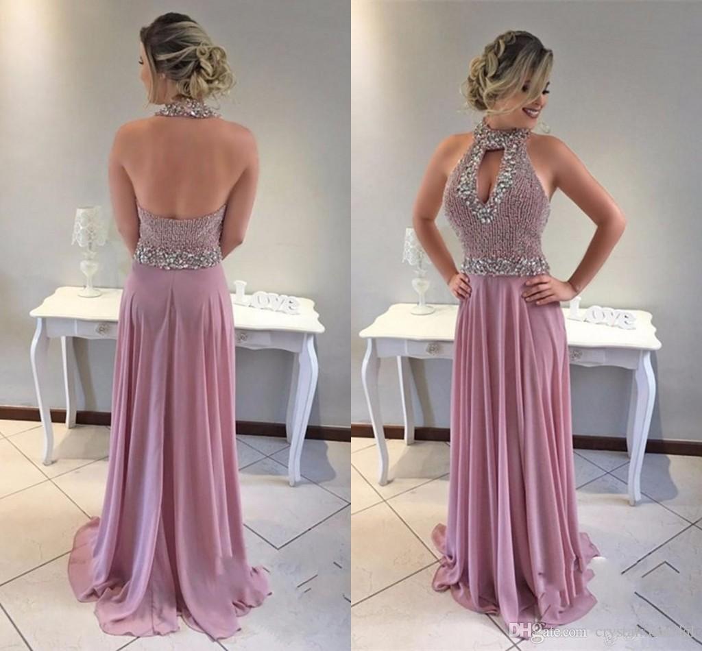 2018 neue sexy prom kleider high neck keyhole chiffon perlen kristall open back lange plus größe formale party dress vestido abendkleider tragen