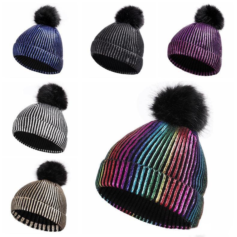 6 색 폴리 에스테르 스팽글 스트 라이프 Pom Pom 겨울 모자 성인 어린이 모자 Beanies Fitted Hat 고급 폴로 모자 Warmer 해골 모자