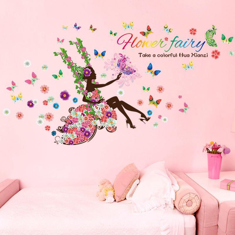 DIY мультфильм стикер стены Княгини комната Симпатичные девушки качаются Бабочка и цветок Обои Mural Art Водонепроницаемым