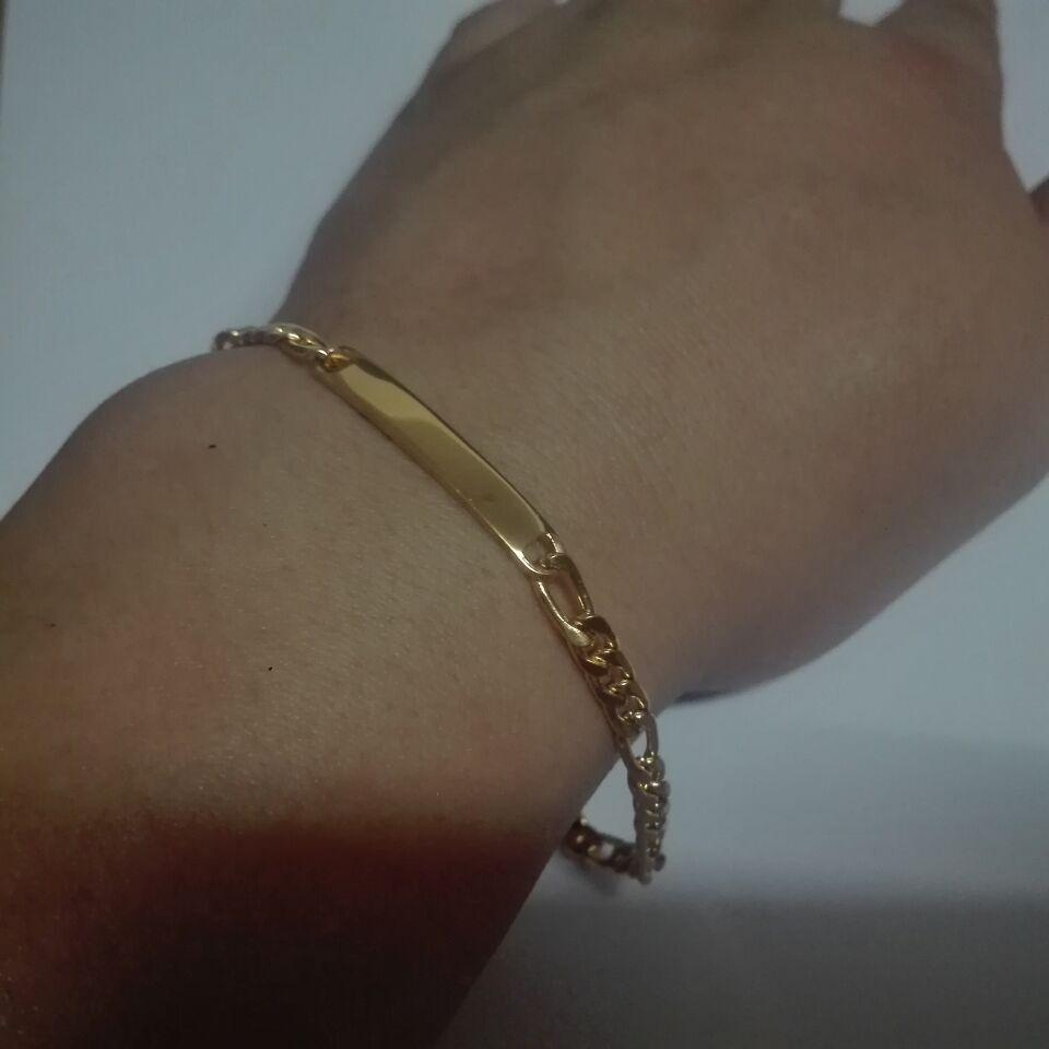 5 pçslote Lote 4.5mm 22 cm (8.66 polegada) mulheres mens Moda aço Inoxidável em massa de Ouro figaro Link chain pulseira pulseira jóias