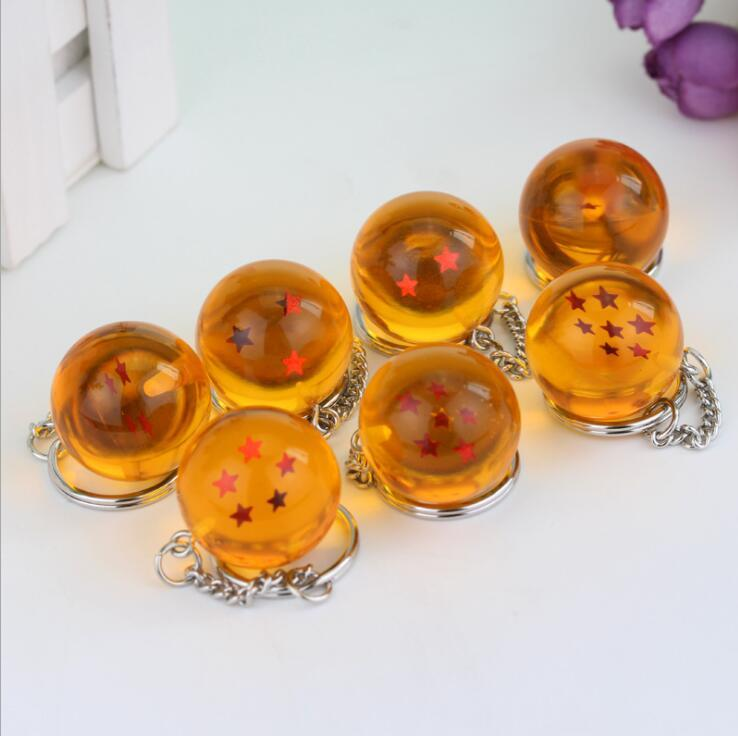 Anime Dragon Ball Z 7 Stars Balls Keychain 2.7cm Figures Toys Key Chain Pendant Star Dragon Ball Z Keychain KKA5193