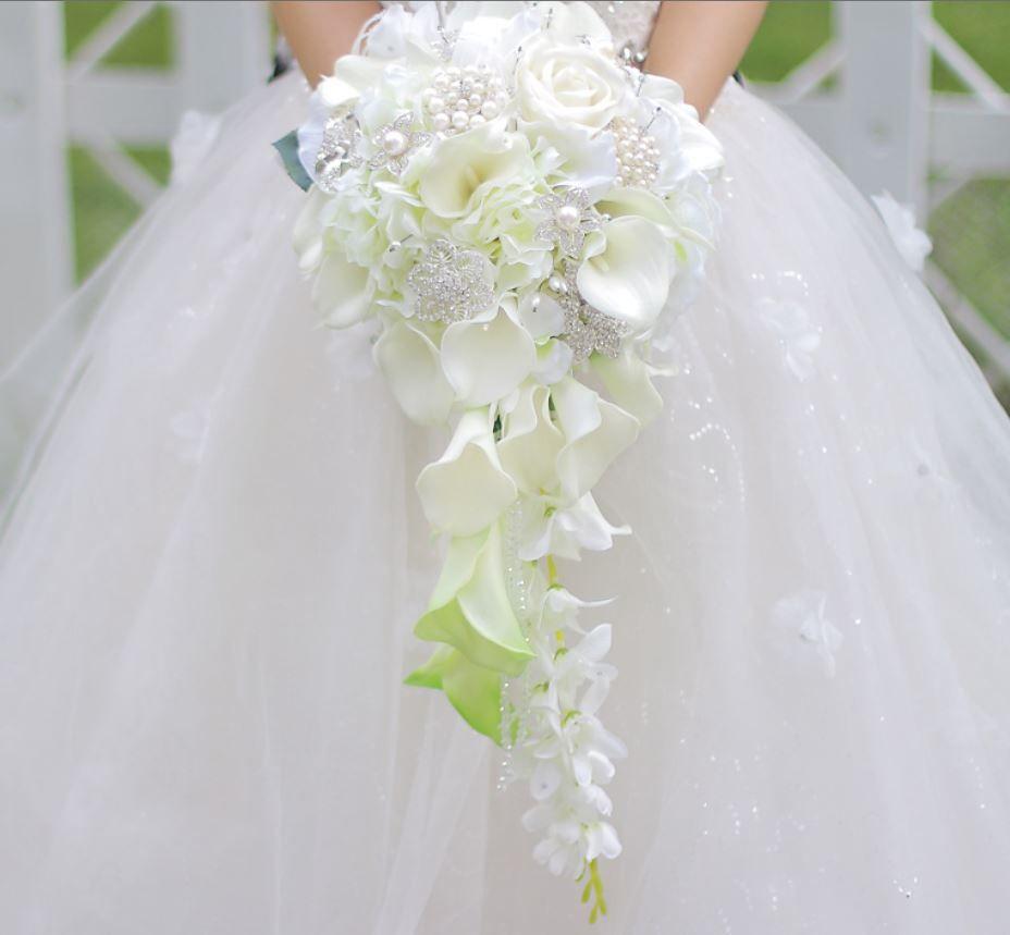 Custom Drip Simulation Flower Wedding Bouquet White Calla Rose