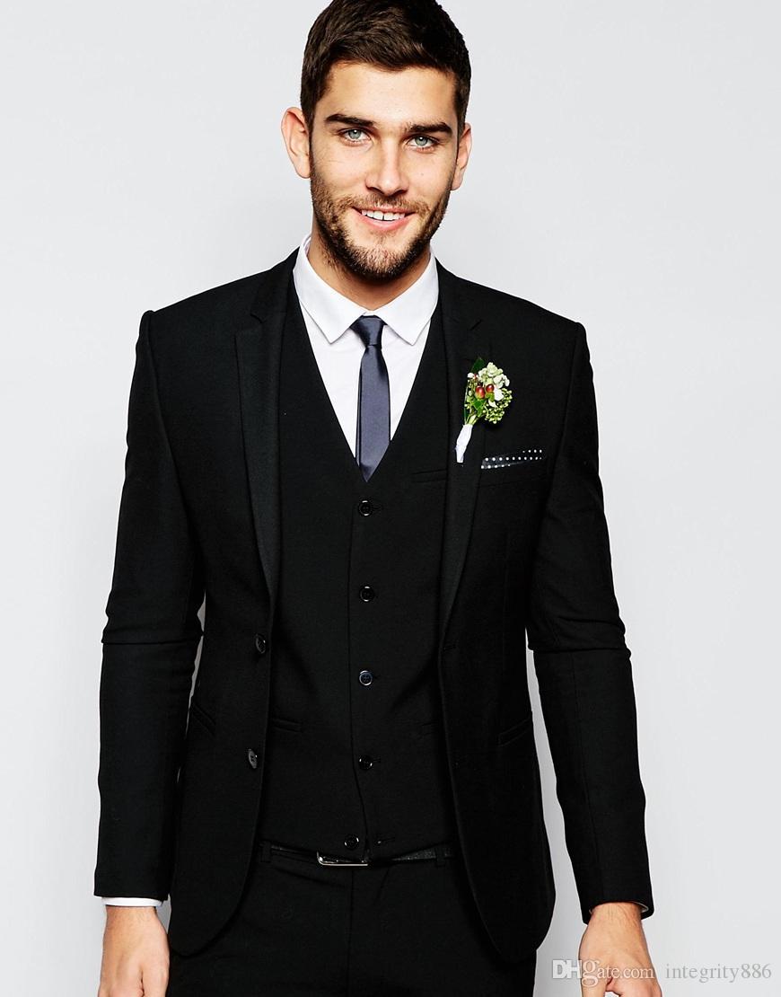 Tuxedos de marié noir deux pièces deux boutons centre évent homme costume de mariage beaux hommes d'affaires dîner d'affaires Blazer (veste + pantalon + cravate + veste)