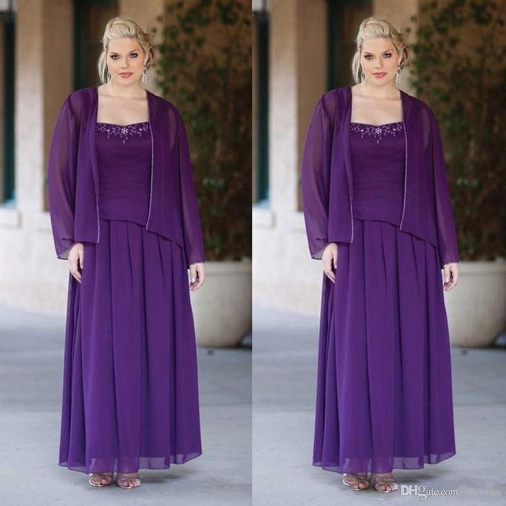 Plus Size Purple Mother Of The Bride Dresses Two Pieces Chiffon Jacket  Spaghetti Strap Floor Length Beaded Wedding Guest Dress Plus Size Dresses  For ...