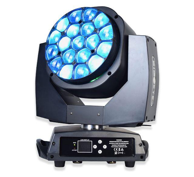 LED 19x15 W arı göz 4in1 RGBW hareketli kafa LED yakınlaştırma yıkama sahne ışık 360 ° Rotasyon LCD dokunmatik ekran DJ ekipmanları için Performans Düğün