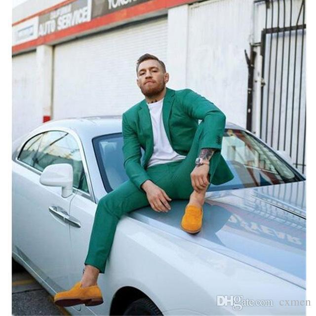 Custom Made Hunter Green 2018 Wedding Suits for Men Handsome Groom Tuxedos Slim Fit Best Men Blazer 2 Pieces Jacket+Pants Terno Masculino